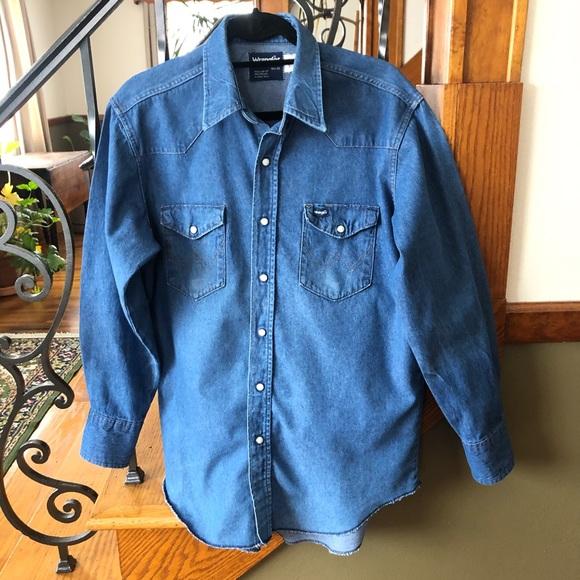 Dark Used Wrangler Mens Western Denim Shirt